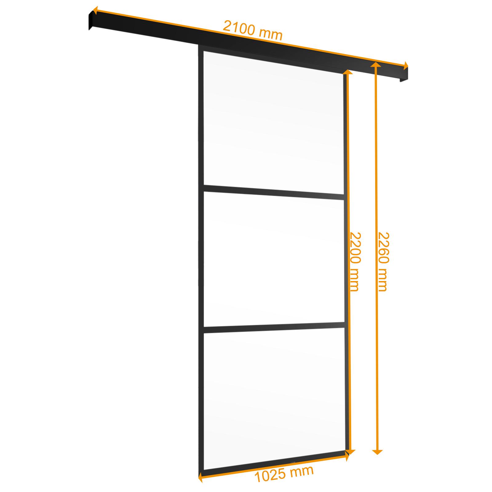 Banner Bemaßte schwarz gerahmte Glasschiebetür