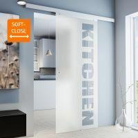 Glasschiebetür 755x2035mm Schriftzug Griffmuschel+Softclose