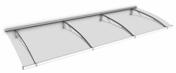 LT-Line Pultbogenvordach 2700x950 mm, Acrylglas klar, Stahl weiß pulverbeschichtet
