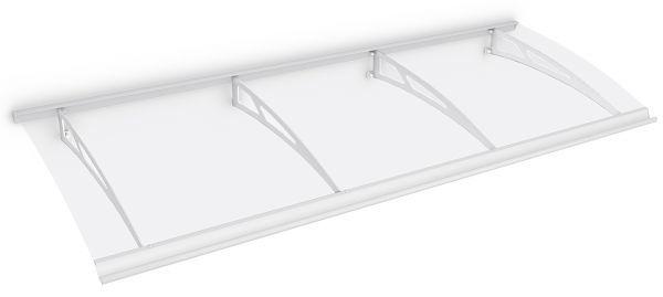 Style Plus Pultbogenvordach 2400 x 900 mm, Polycarbonat klar, Stahl weiß, Classic