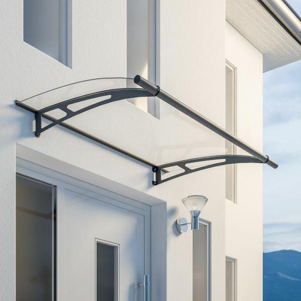 LT-Line Pultbogenvordach 1500x950 mm, Acrylglas klar, Stahl anthrazit pulverbeschichtet