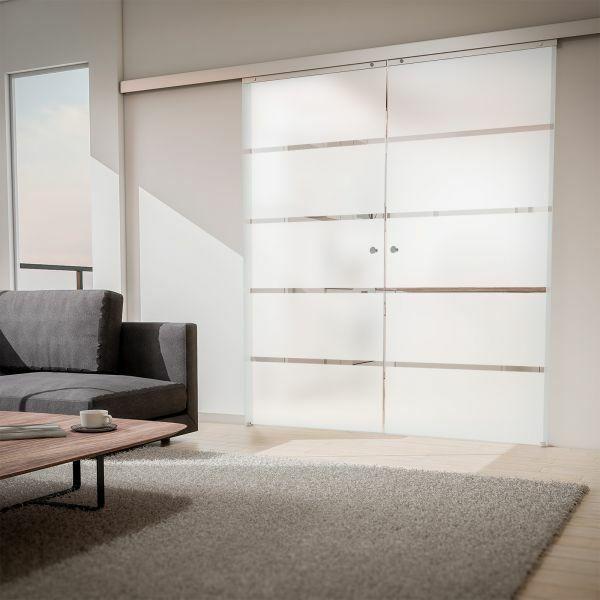 2-flügelige Glasschiebetür 1760x2035mm Blockstreifen satiniert Komplettset