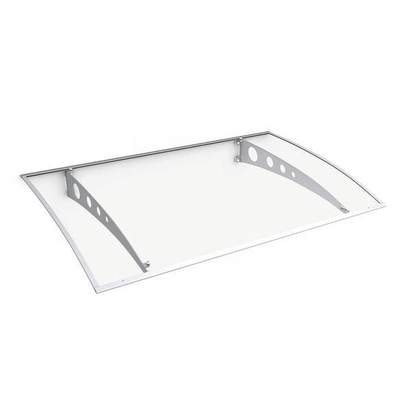 Lyra 1 Pultbogenvordach 1400x893 mm, Polycarbonat-Hohlkammerplatte klar, Stahl weiß pulverbeschichte
