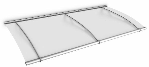 LT-Line Pultbogenvordach 2000x950 mm, Acrylglas satiniert, Edelstahl V2A, matt gebürstet