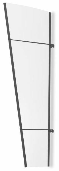 Vordach Seitenelement 620x1670 mm, Acrylglas klar, Stahl anthrazit pulverbeschichtet