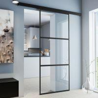 Glasschiebetür 1025x2200mm umlaufendes Alu-Profil schwarz beschichtet klarglas Komplettset ohne SoftClose
