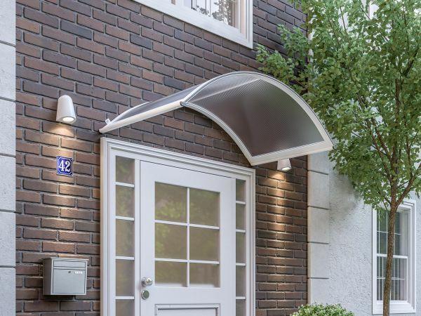 Basic Rundbogenvordach 1635x905 mm, Polycarbonat-Hohlkammerplatte klar, Aluminium weiß pulverbeschic