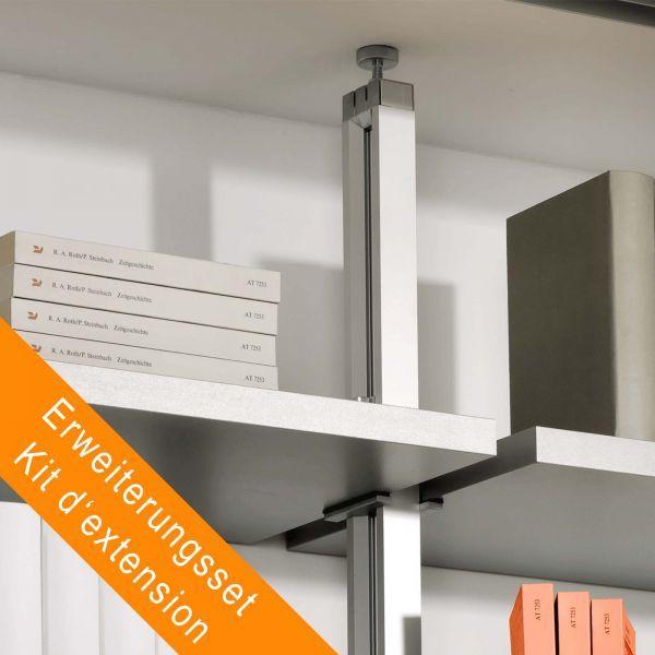 Erweiterungsset 1 Regalständer für Deckenverspannung mit 8 Regalbodenhaltern