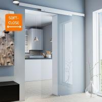 Glasschiebetür 755x2035mm Klarglas Griffknopf+Softclose