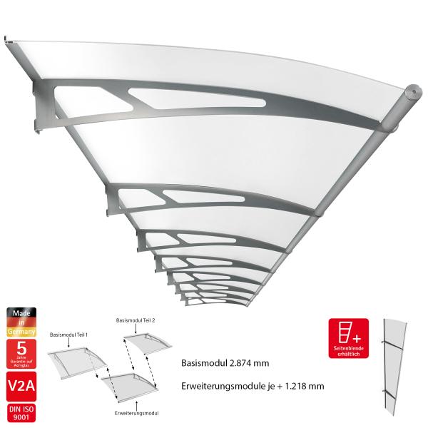 LT-Line modular Pultbogenvordach, Acrylglas, Edelstahl V2A matt gebürstet