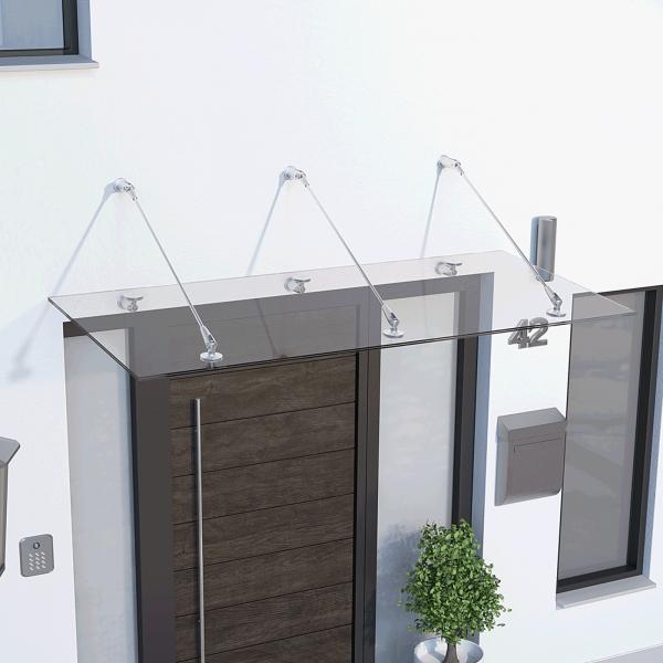 Glasline Davita Vordach 1800x900mm, Echtglas VSG 12mm klar, Edelstahl V2A