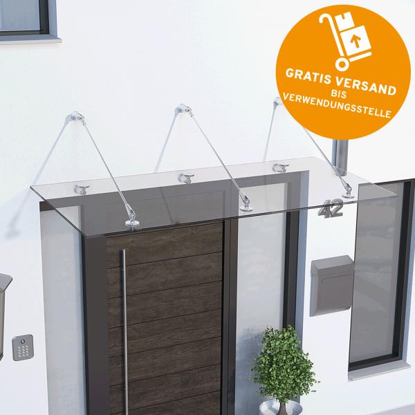 Glasline Davita Vordach 2000x900mm, Echtglas VSG 12mm klar, Edelstahl V2A