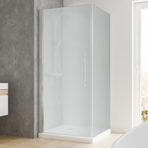 Drehtür mit Seitenwand vollsatiniert Echtglas 900x900 mm