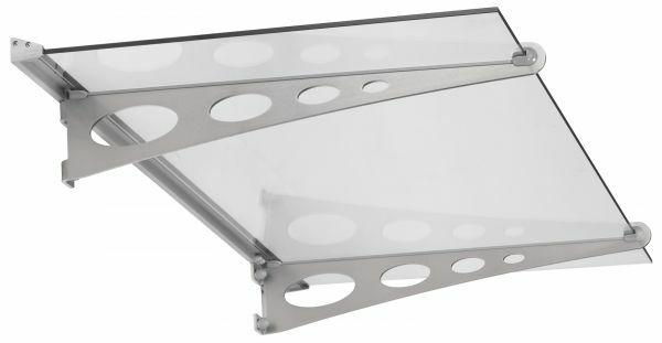 Glasline Garant Pultvordach 1500x890 mm, Echtglas klar, Edelstahl V2A matt gebürstet