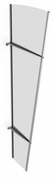 Vordach Seitenelement 620x1670 mm, Acrylglas klar, Edelstahl V2A matt gebürstet