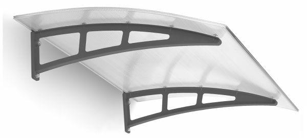 Twinline Pultbogenvordach 1380x946 mm, Polycarbonat-Hohlkammerplatte klar, Kunststoff anthrazit
