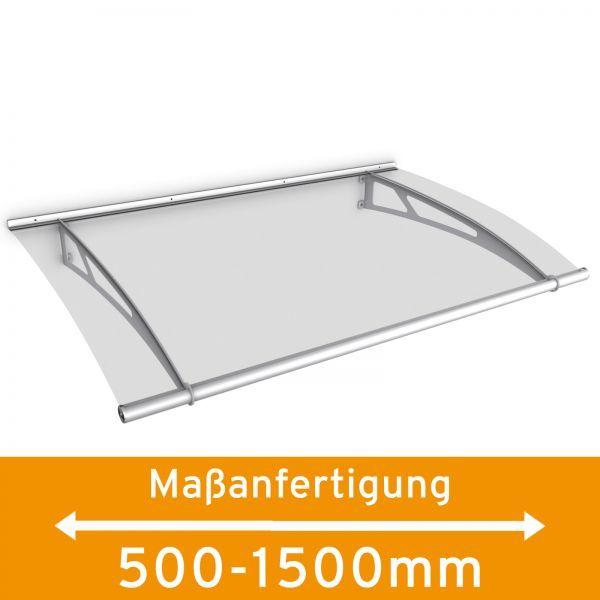 LT-Line Pultbogenvordach auf Maß 500-1500x950 mm, Acrylglas klar, Edelstahl V2A matt gebürstet