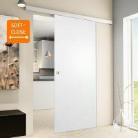 Holzschiebetür 900x2035mm Weiß Griffmuschel + Softclose