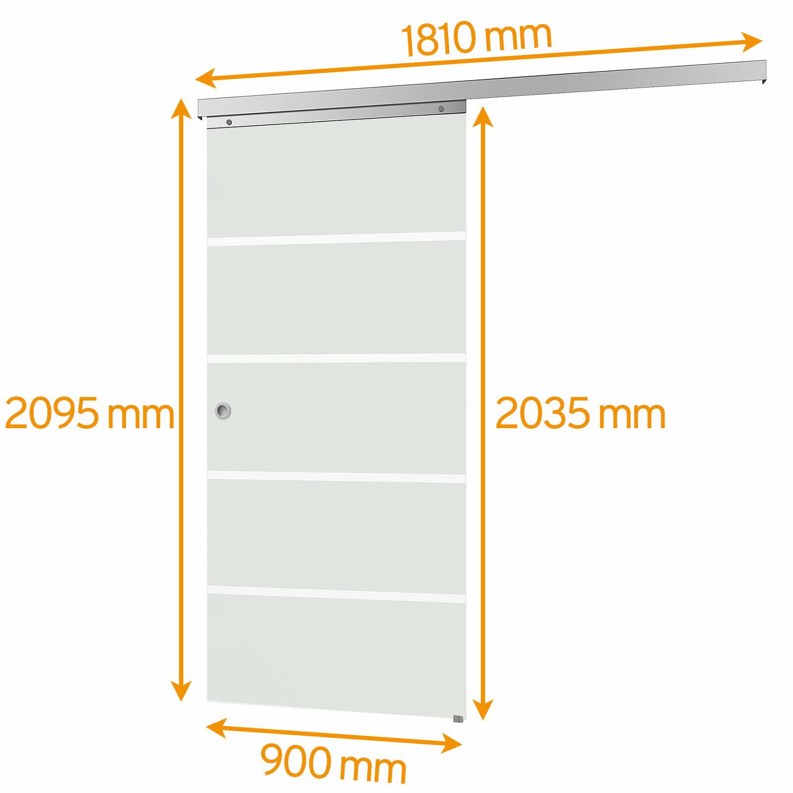 Bemaßte Glasschiebetür Blockstreifen satiniert