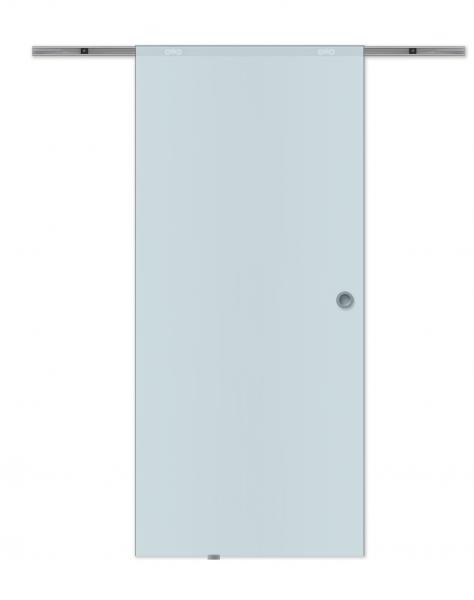 Glasschiebetür 880x2080mm offene Laufschiene Satiniert Griffmuschel Komplettset