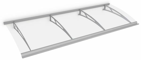 Style Plus Pultbogenvordach 2400 x 900 mm, Polycarbonat klar, Edelstahl V2A, Classic