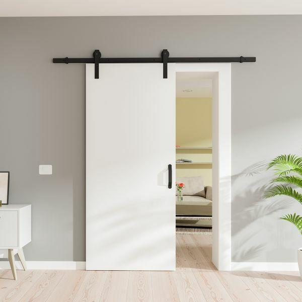Holzschiebetür 775x2065mm Weiß offene Laufschiene schwarz Komplettset