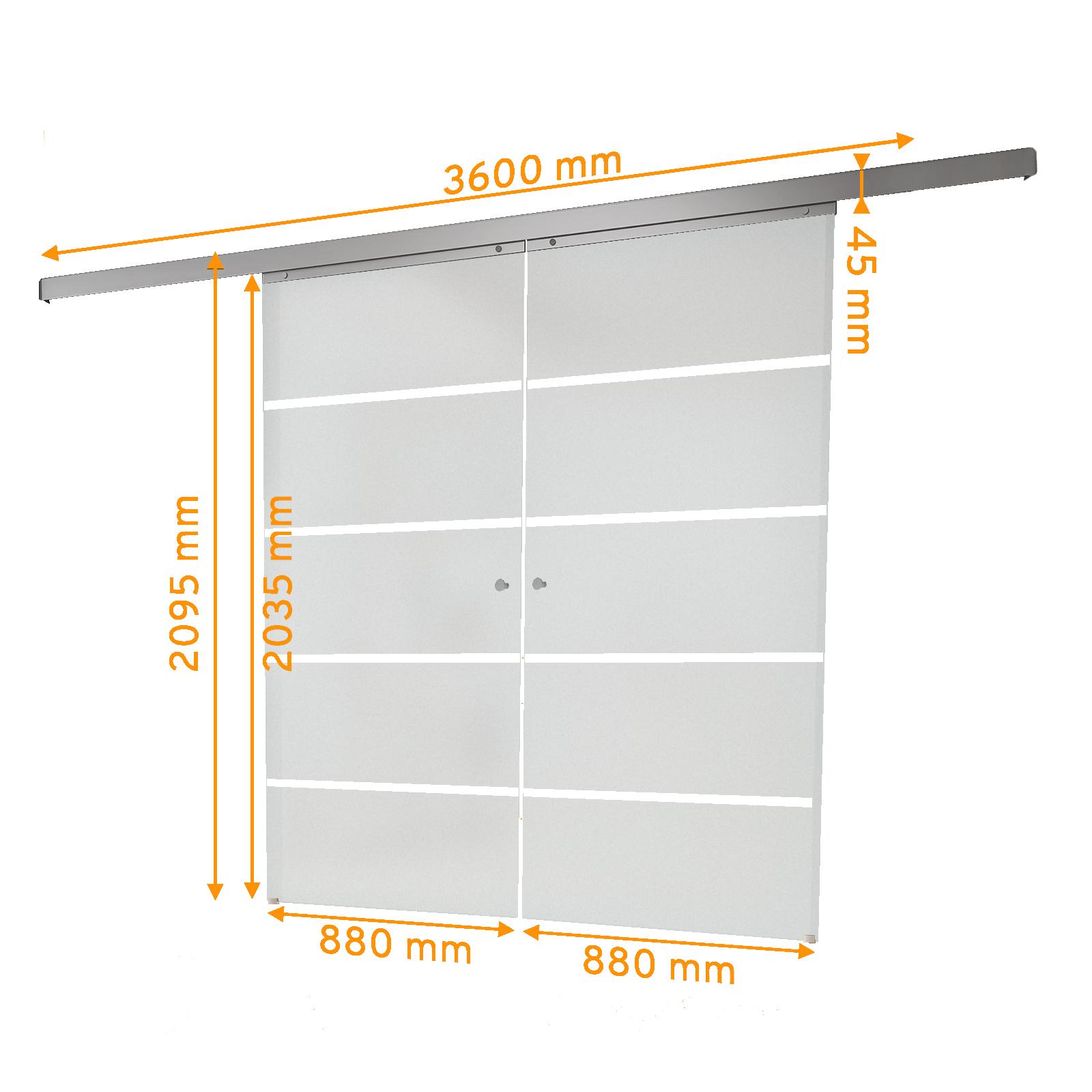 Bemaßte 2-flüglige Glasschiebetür mit Blockstreifen satiniert
