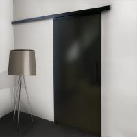 Glasschiebetür 900x2035mm Schwarz vollflächig satiniert