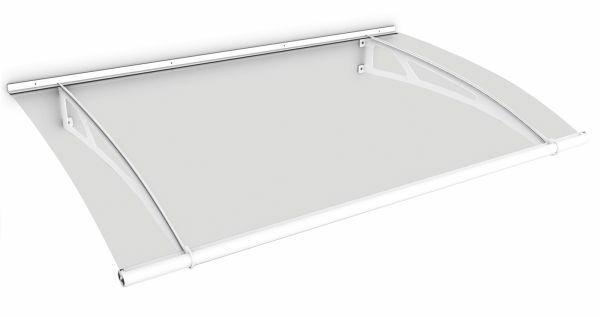 LT-Line Pultbogenvordach 1500x950 mm, Acrylglas klar, Stahl weiß pulverbeschichtet