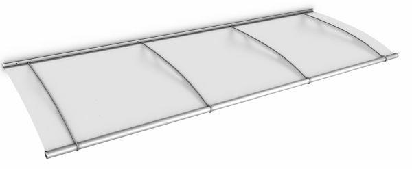 LT-Line Pultbogenvordach 2700x950 mm, Acrylglas satiniert, Edelstahl V2A matt gebürstet