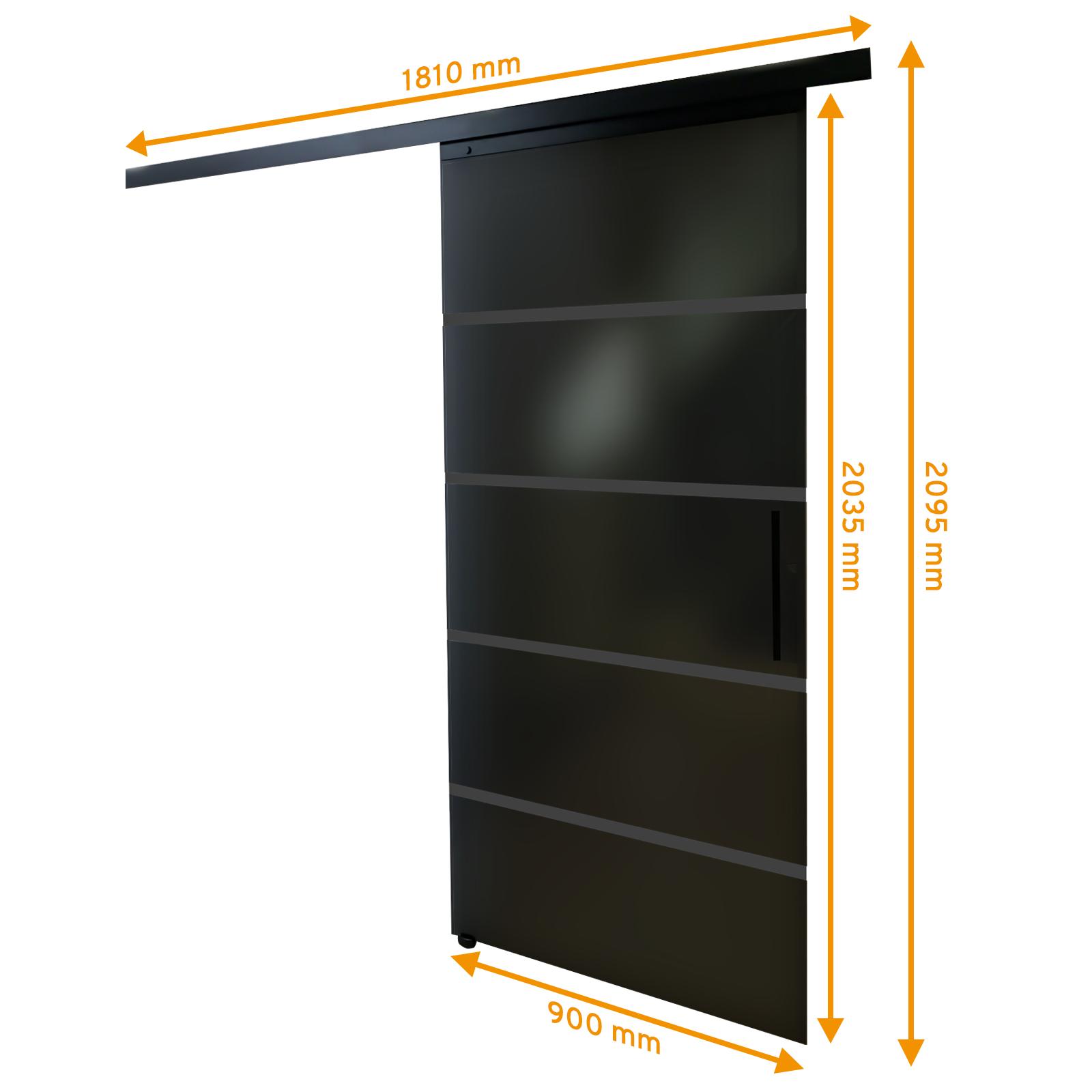 Bemaßte Glasschiebetür in schwarz mit Blockstreifen