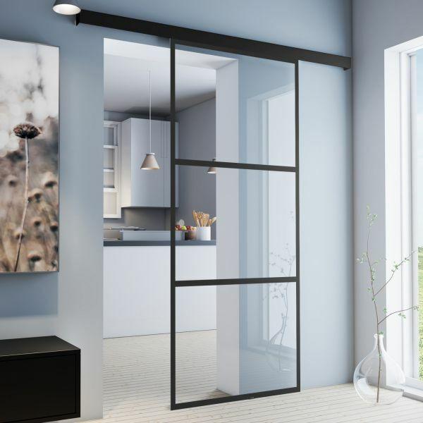 Glasschiebetür Sondermaß 755x2035mm umlaufendes Alu-Profil schwarz beschichtet klarglas Komplettset