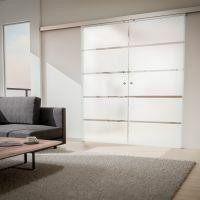 2-flügelige Glasschiebetür 1760x2035mm Blockstreifen satiniert Komplettset Griffknopf