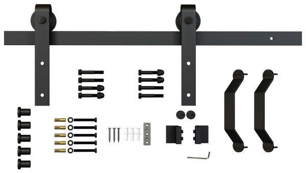 Laufsystem für Schiebetüren, schwarz pulverbeschichtet, 2000mm