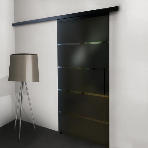 Glasschiebetür schwarz Blockstreifen 900x2035mm
