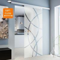 Glasschiebetür 880x2035mm Kreisförmig satiniert Komplettset Griffknopf+Softclose