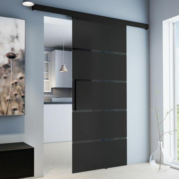 Glasschiebetür 900x2035mm Schwarz Blockstreifen