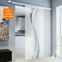 Glasschiebetür 880x2035mm Wellenförmig Komplettset Griffmuschel+Softclose