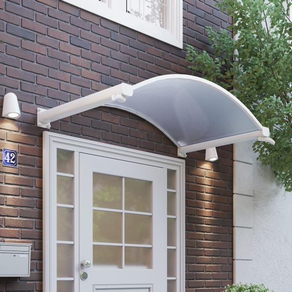 Rundbogenvordach 1600x900mm mit Wasserspeier, Polycarbonat Hohlkammer, Aluminium weiß, Trendline