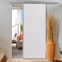 Holzschiebetür 865x2035mm umlaufendes Alu-Profil Weiß Komplettset ohne SoftClose