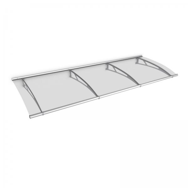 LT-Line Pultbogenvordach +Seitenelement 620x1670 mm, Acrylglas klar, Edelstahl V2A matt gebürst