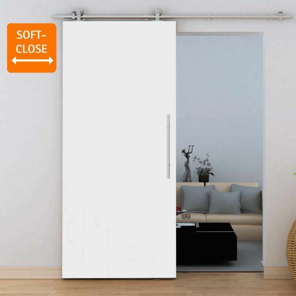 Holzschiebetür 900x2065mm Weiß offene Laufschiene Komplettset