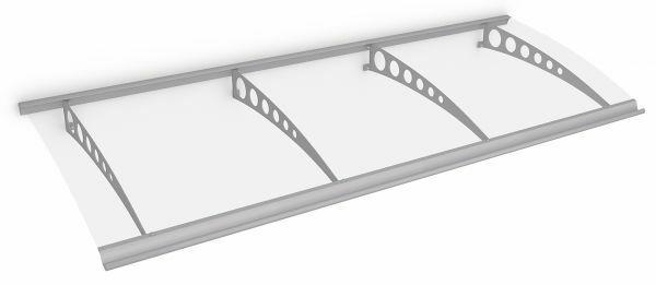 Style Plus Pultbogenvordach 2400x900 mm, Polycarbonat klar, Edelstahl V2A, Circle