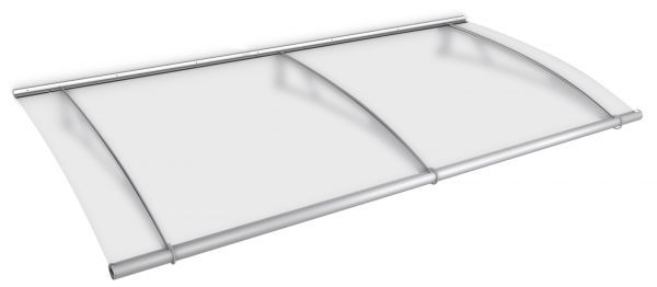 LT-Line modular Pultbogenvordach Basismodul 2874x1420 mm, Acrylglas satiniert, Edelstahl V2A matt ge
