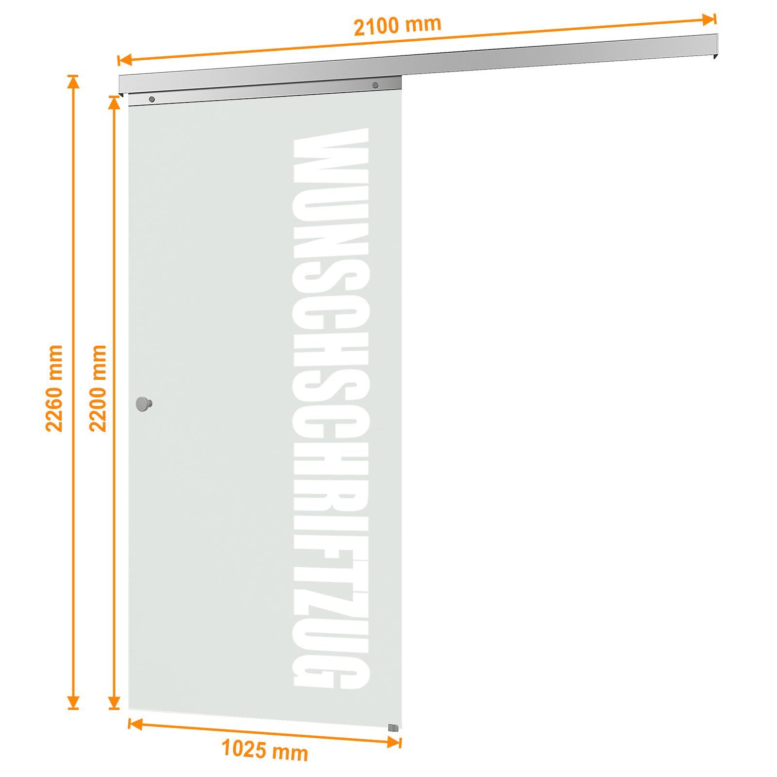 Bemaßte Glasschiebetür mit Schriftzug Breite 880mm