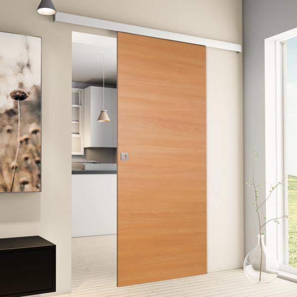 Softclose inova Holz-Schiebet/ür 880 x 2035 mm Buche Alu Komplettset mit Lauf-Schiene und Quadratgriff inkl