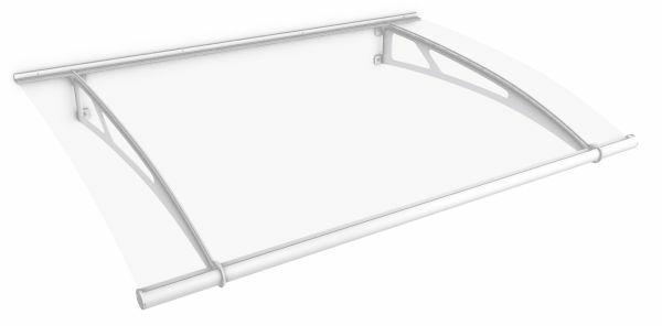 LT-Line Pultbogenvordach XL 2050x1420 mm, Acrylglas klar, Stahl weiß pulverbeschichtet