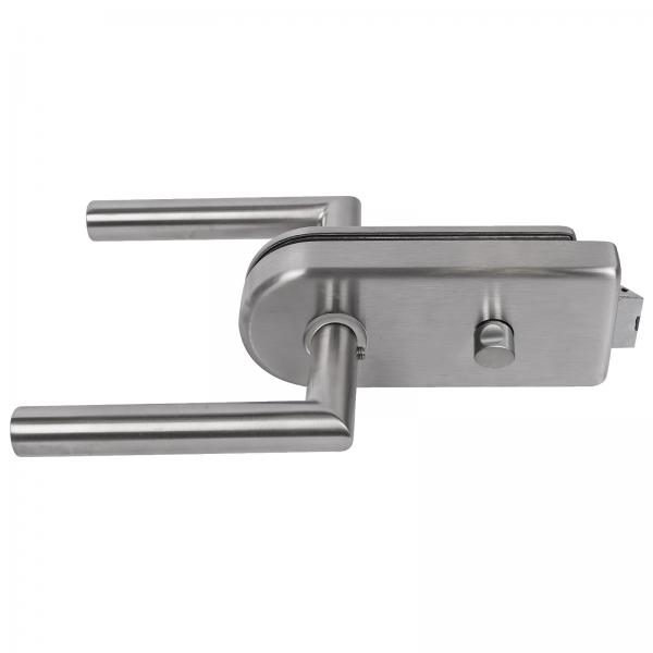 Glastürbeschlag-Set WC Edelstahloptik inkl. Türdrücker & Türbänder
