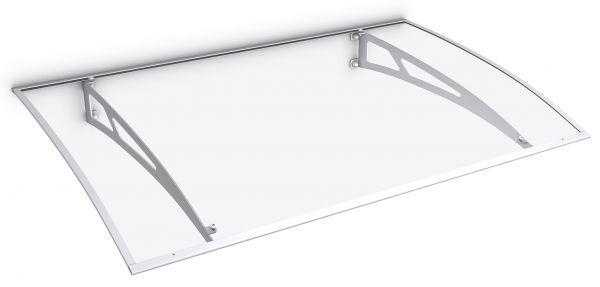 Lyra 2 Pultbogenvordach 1400x893 mm, Polycarbonat-Hohlkammerplatte klar, Stahl weiß pulverbeschichte