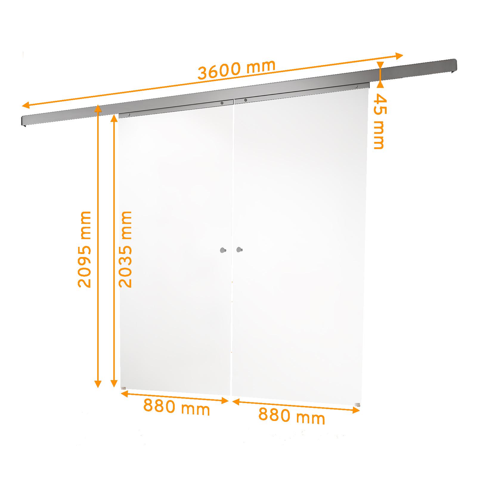 Bemaßte 2-flüglige Glasschiebetür klarglas